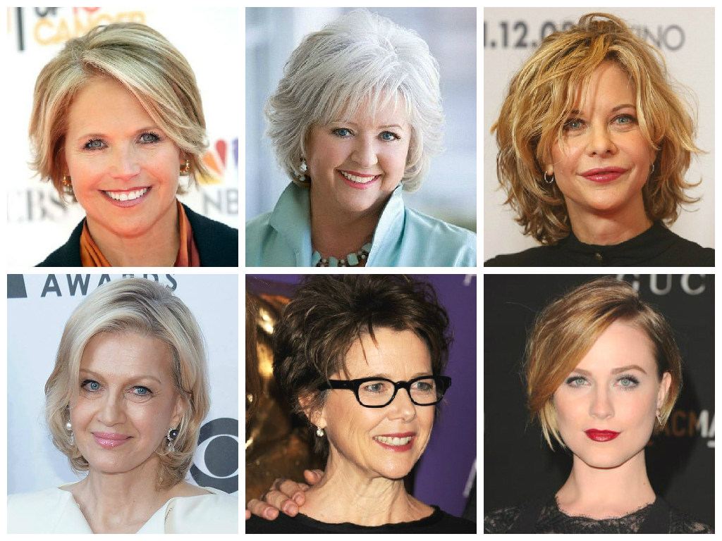 Прически на средние волосы с чёлкой в 50 лет